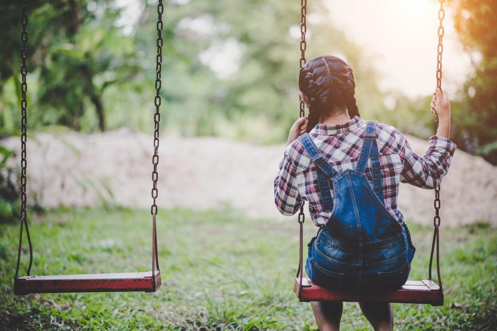 Young girl on a swing in the park alone