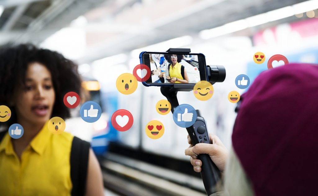 Vlogger streaming a live video