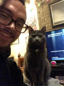 Therapist Brady Figuly with his new cat